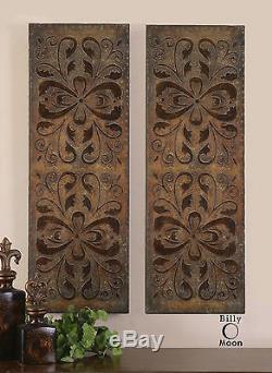 Two Farmhouse Decor XL 41 Antiqued Brown Gold Decorative Wall Art Panels