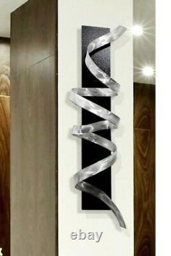 ULTRA MODERN! 3D Metal Wall Art Sculpture Silver Black Decor Artist Jon Allen