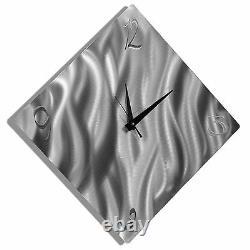 ULTRA MODERN WALL CLOCK Silver Abstract Metal Wall Art Clock Decor by Jon Allen