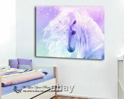 Unicorn Stretched Canvas Print Framed Wall Art Kids Room Decor Painting Cartoon