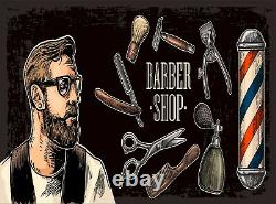 Vintage Barbershop Wall Mural Photo Wallpaper GIANT WALL DECOR Free Glue