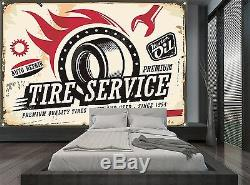 Vintage Car Service Tire Sign Garage Wall Mural Photo Wallpaper GIANT WALL DECOR