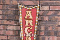 Vintage LED Light Metal Hanging Signs ARCADE arrow Cafe Pub Bar Art Wall Decor
