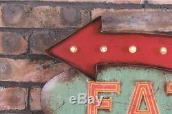 Vintage LED Light Metal Hanging Signs EAT HERE Cupcake Food Shop Art Wall Decor