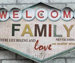 Vintage Retro Style LED Light Welcome Metal Signs Bar Home Shop Cafe Wall Decor