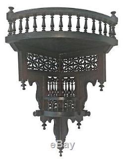 W61 Antique Style Brown Arabian / Islamic Wood Wall Decor Corner Double Shelf