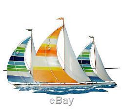 Wall Art Sail Away Colorful Sailboats Wall Sculpture Tropical Wall Decor