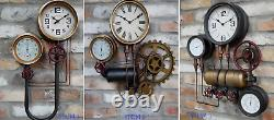 Wall Mounted Industrial Style Steampunk Clocks Vintage Distress Time Home Decor