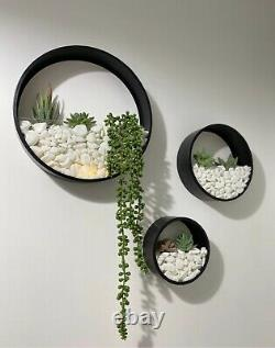 Wall Planters Circular Set Inc Artificial Plants LED Lights Pearl White Stones