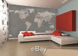 Wall mural wallpaper 315x232cm Silver map of the World home walls photo decor