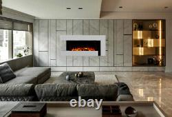 White Wall Mounted Fireplace Suite Electric Fire Home Decor Flicker Flame Logs