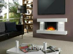 White Wall Mounted Log Fireplace Suite Electric Fire Home Decor Flame Glass 80cm
