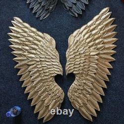 Wings Wall Sculpture Metal Creative Retro Figurine Elegant Home Decoration Gift