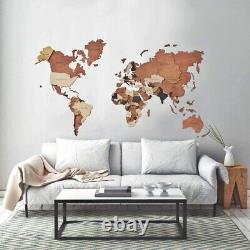 Wood Map World Map Wall Map Wood World Map Wood Wall Art Home Decor M Size