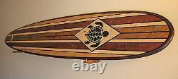 Wood Surfboard Bar Top Hawaiian Turtle Wall Art Surf Decor tribal Outdoor shower