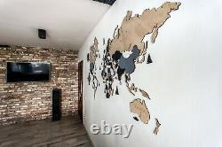 Wooden World Map M sz (63 x 37) Grey White and Beige with Country And States