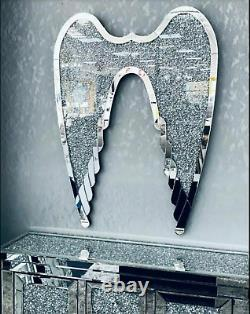 XL Wall Hung Crushed Diamond ANGEL WINGS Bling Gift Sparkles Mirrored Gatsby UK