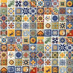 100 4x4 Tuiles Mexicaines Céramique Faite À La Main Talavera Carreaux Mur Plancher Décoratif #005