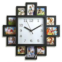 12 Multi Photo Horloge Murale Accueil Décor Image D'amour De La Famille Cadre D'ouverture Moderne