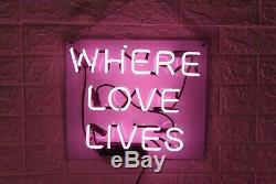 14x9where Love Lives Neon Sign Lumière Tiki Bar Décorations En Verre Réel Tube Cadeau