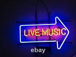 17x14live Musique Arrow Neon Sign Light Beer Bar Bistro Wall Decor Visual Art