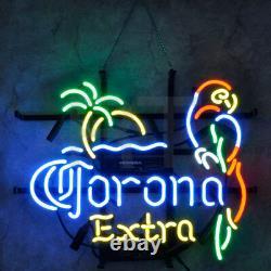 17x14parrot Corona Extra Neon Sign Light Beer Bar Pub Wall Decor Art Visual