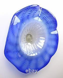 26 Main Soufflée Plaque De Plateau De Table En Verre D'art Bleu Blanc Avec Le Montage Suspendu De Mur