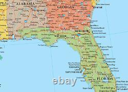 32x50 Rand Mcnally Style États-unis-états-unis Grande Carte Murale Affiche Par Rmc
