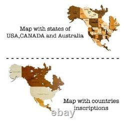 3d Wooden Wall World Map L Sz(63 X 37) Pays+états+capitales
