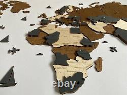 3d Wooden Wall World Map M Sz (43 X 24) Avec Country Names Brown+dark Grey