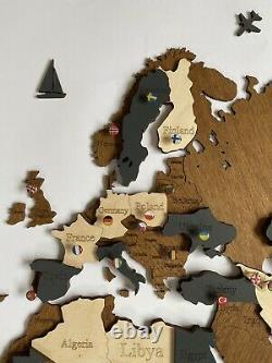 3d Wooden Wall World Map M Sz (63 X 37) Avec Des Noms De Pays Avec Brown+dark Grey
