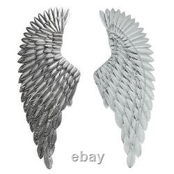 40'' Large Antique Silver Angel Wings Chic Wall Mounted Hanging Art Home Décor