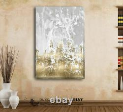 Abstract Stretched Canvas Print Framed Wall Art Peinture Déco À La Maison Gris Or