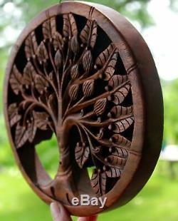 Arbre De Vie Sculpture Murale Panneau En Bois Sculpté À La Main Art Acajou Balinaise