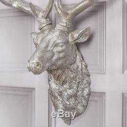 Argent Stag Tête De Cerf Antlers Accueil Mur Antique Style Décoration Figure Accueil