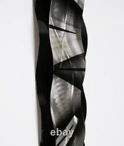 Art Abstrait Moderne Métal Sculpture Murale Art Noir Et Argent Peinture Home Decor Nouveau