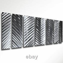 Art Contemporain Moderne Abstrait Métal Mur Sculpture Silver Design Maison Décor L