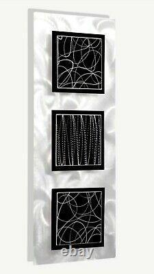 Art Mural En Métal Moderne Sculpture Murale En Argent Noir Decor Par L'artiste Jon Allen