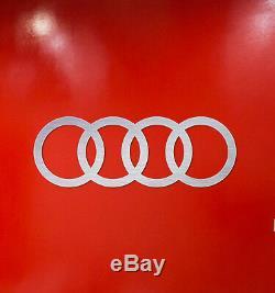 Audi Sign 4 Anneaux Garage En Aluminium Brossé Argent Logo Décoration Murale 3,5 Pieds De Large