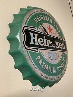 Authentique Vintage Heineken Grand Horloge Retro Cave Man Bar Plaque Décorations
