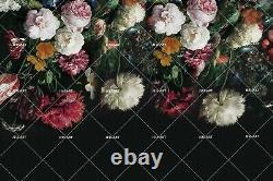 Autocollant Mural 3d Dark Black Floral Self-adhesive Amovible Wallpaper Murals