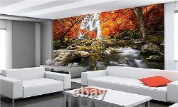 Autumn Waterfall Wall Mural Photo Wallpaper Giant Wall Decor Paper Poster