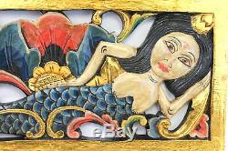 Bali Mermaid Relief Panneau De Sculpture Murale Art Architectural Balinaise En Bois Sculpté