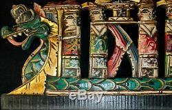 Balinaise Dragon Boat Panneau Mural Art Relief Architectural En Bois Sculpté Bali Mul