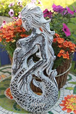 Balinaise Sirène Panneau De Sculpture De Mur Décor Nautique Bois Sculpté Bali Art Gauche