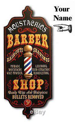 Barber Shop Personnalisé Vintage Dubliner Wood Sign Pole, Cave Man, Décorations Pour Les Murs