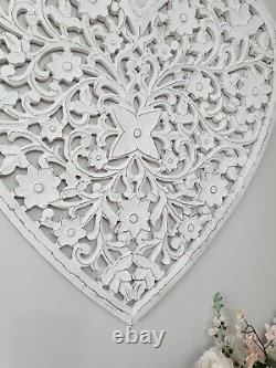 Belle Grande Main Blanche Sculptée Filigrane Mangue Mur Decor Feature Heart