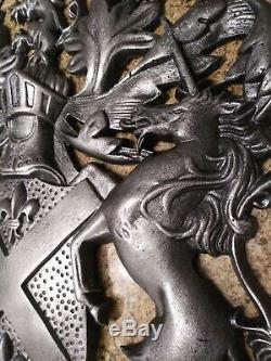 Bouclier, Décoration Murale, Art Métal, Unicorn, Lion, Armoiries, Aigle, Médiéval, Nouveau