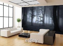 Brouillard Nuit Forêt Arbres Photo Noir & Blanc Fond D'écran Peint Giant Wall Decor