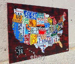 Carte De Plaque D'immatriculation Des Etats-unis Recyclés Décor De Mur De Métal Pub Man Cave Art USA